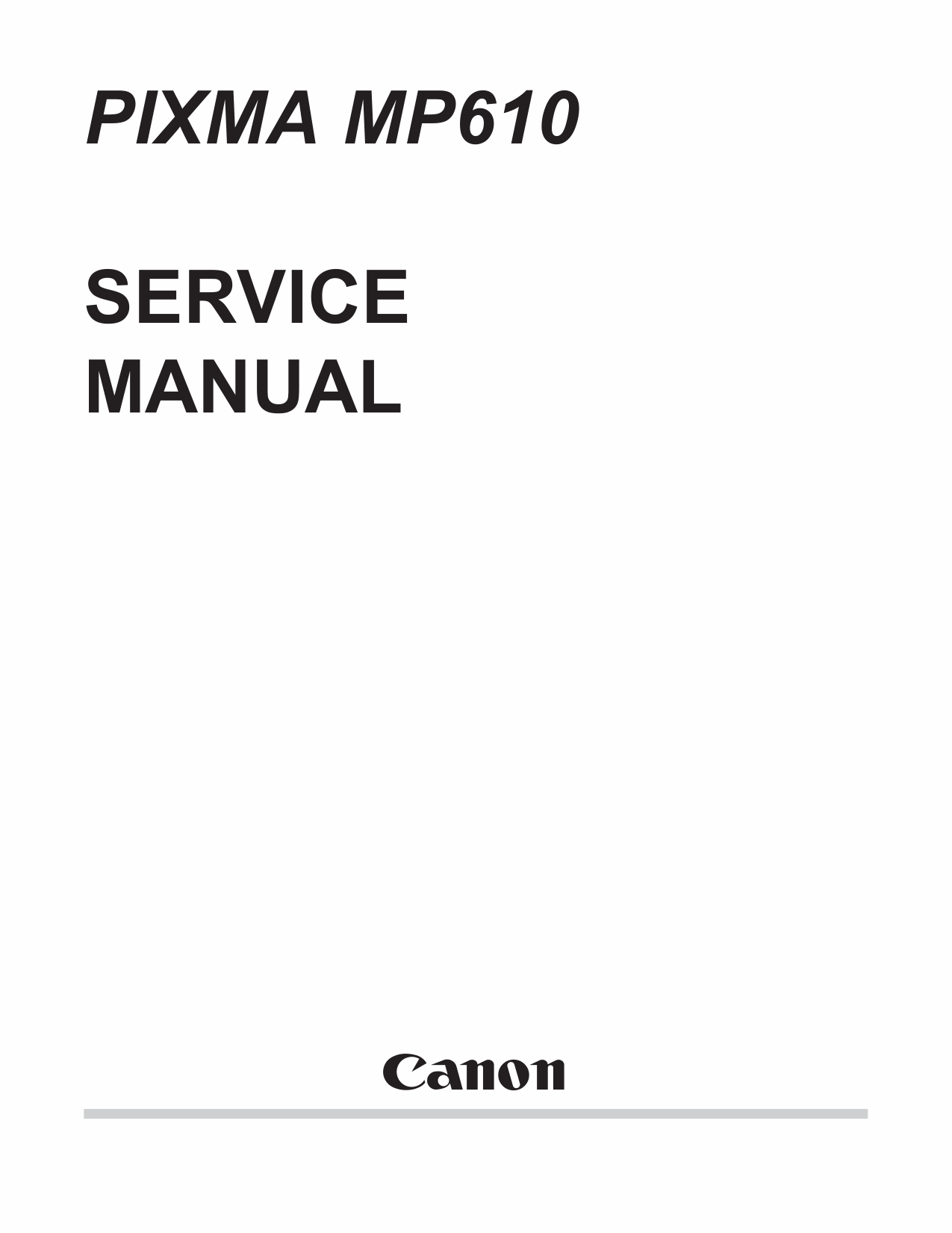 Canon PIXMA MP610 Parts and Service Manual-1